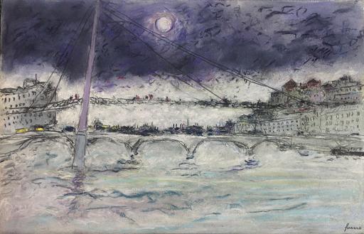 Jean FUSARO - Dessin-Aquarelle - La passerelle du Palais de Justice -Lyon