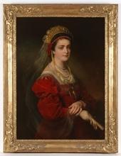 "Friedrich Ritter VON AMERLING - Pintura - ""Portrait of Artist's Wife"", ca 1880, Oil on Canvas"