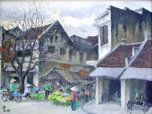 "PHAM LUAN - Painting - Hanoi ""Chieu"" market in winter"
