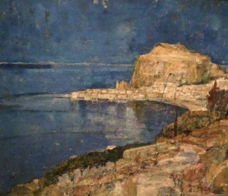 André SUZANNE - Pintura - baai Cote d'Azur (Menton)