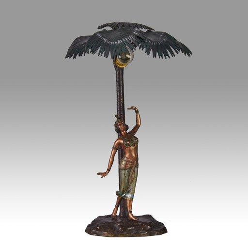Franz BERGMAN - Sculpture-Volume - Woman Under Palm Tree Lamp