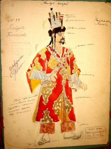 Konstantin A. KOROVIN - Drawing-Watercolor - Prince Igor. Another costume for Feodor Chaliapin