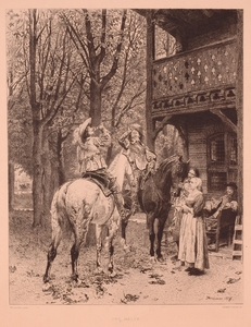 "Alphonse LALAUZE, ""Une Halte"", Etching after E. Meissonier, ca.1900"