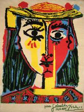 Pablo PICASSO - Tapestry - Femme au chapeau a pompons et au corsage imprime