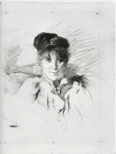 Henri DE TOULOUSE-LAUTREC - Drawing-Watercolor - Portrait de Femme