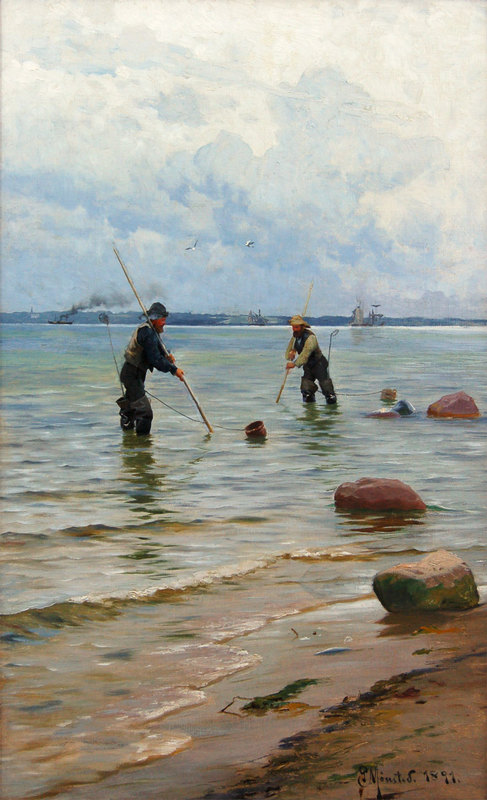 Peder Mork MØNSTED - Gemälde - Shell Fishermen