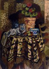 Roger BISSIÈRE - Peinture - Pot de fleur et tasse sur un gueridon, Circa 1926