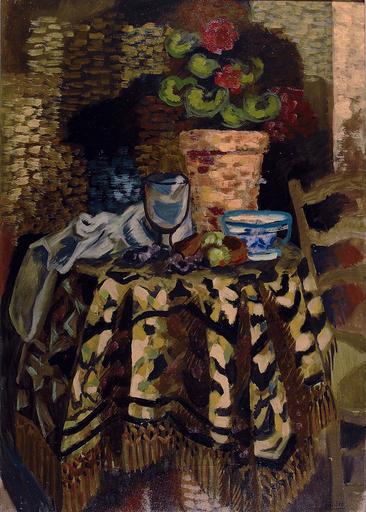 Roger BISSIÈRE - Painting - Pot de fleur et tasse sur un gueridon, Circa 1926