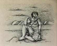 Mario CARREÑO - Dibujo Acuarela - Muchacha