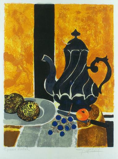 Yves GANNE - Grabado - Still Life with Black Teapot