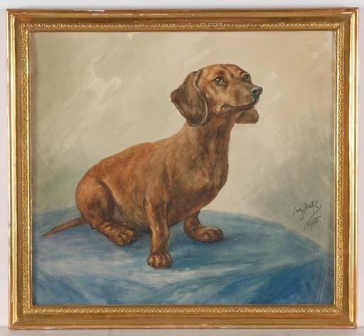 "Isa JECHL - Dessin-Aquarelle - ""Dachshund"", 1952, Watercolor"