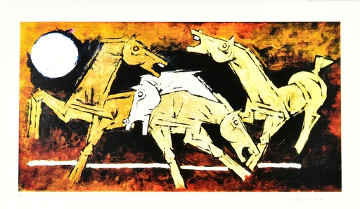 Maqbool Fida HUSAIN - Grabado - Horse Series