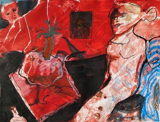 Zvi MILSHTEIN - Zeichnung Aquarell - Femme dans un intérieur