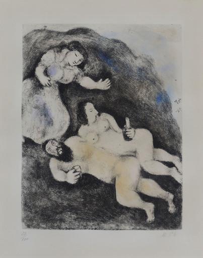 马克•夏加尔 - 版画 - Lot and His Daughters