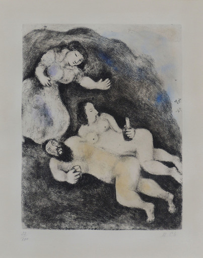 Marc CHAGALL - Estampe-Multiple - Lot and His Daughters