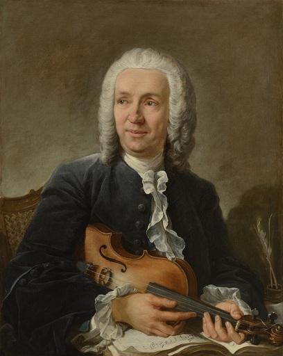 François BOUCHER - Pintura - Portrait du compositeur Francesco Geminiani (1687 - 1762)