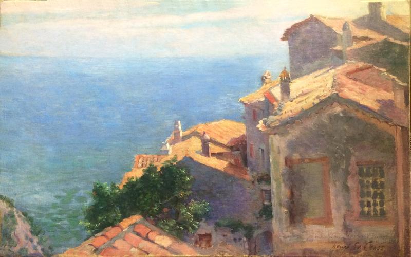Henri Edmond CROSS - Peinture - Village au bord de la Méditerranée, Eze