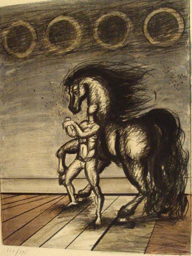 "Franz PRIKING - Stampa-Multiplo - ""Homme et cheval""1970."