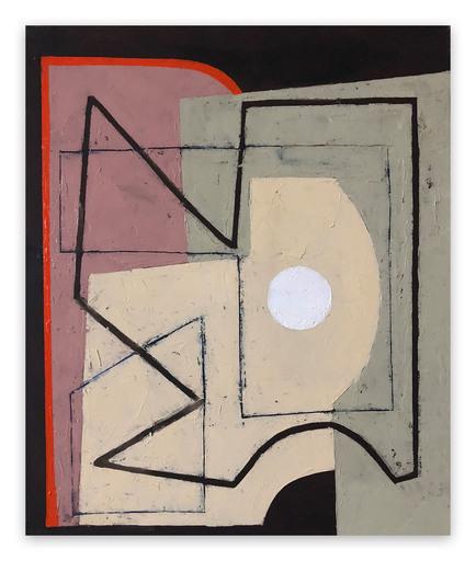 Jeremy ANNEAR - Peinture - Red Borderline with white sphere II
