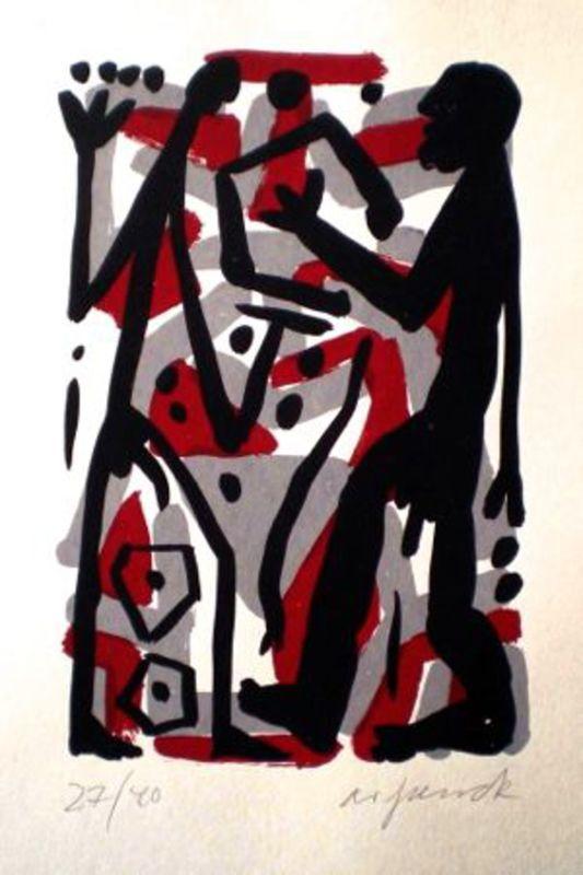 A.R. PENCK - Estampe-Multiple - Untitled 3
