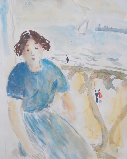 Jean-Jacques RENÉ - Dibujo Acuarela - Le balcon
