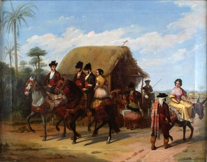 Joaquín DOMINGUEZ BÉCQUER - Gemälde - Riders Passing by a Tavern