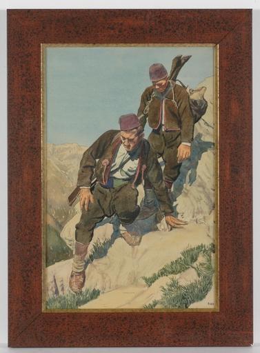 "Petrus SAIN - Zeichnung Aquarell - ""Bosnian Poachers"", ca.1910, Watercolor"