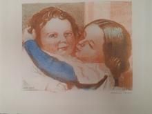 Maurice DENIS - Grabado - Enfants embrassant