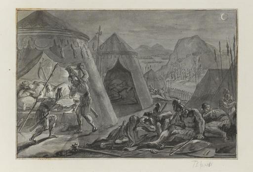 Ottomar II ELLIGER - Drawing-Watercolor - David entre dans le camp de Saül et emporte la lance et ...