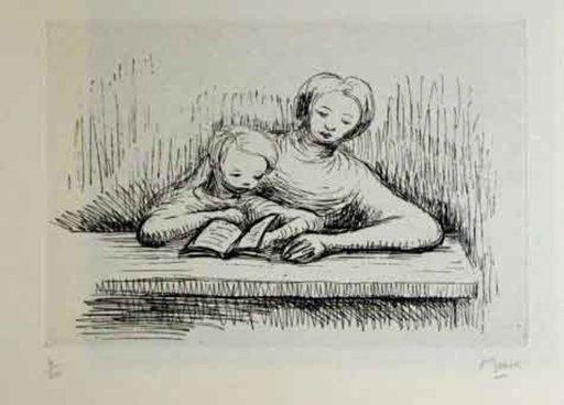亨利•摩尔 - 版画 - Readin Lesson