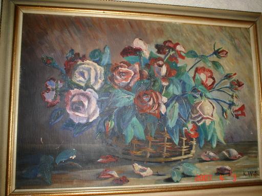Karl WEBER - Pintura - gerbe de roses