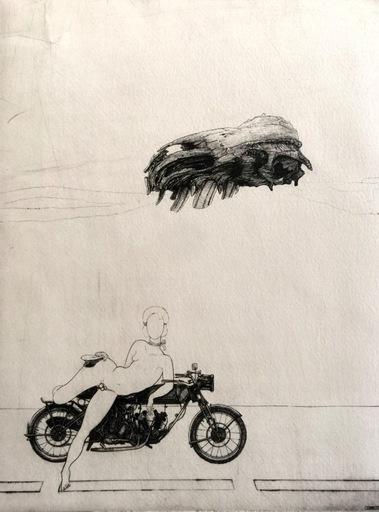 Philippe MOHLITZ - 版画 - Jeune hermaphrodite disposant d'une motocyclette