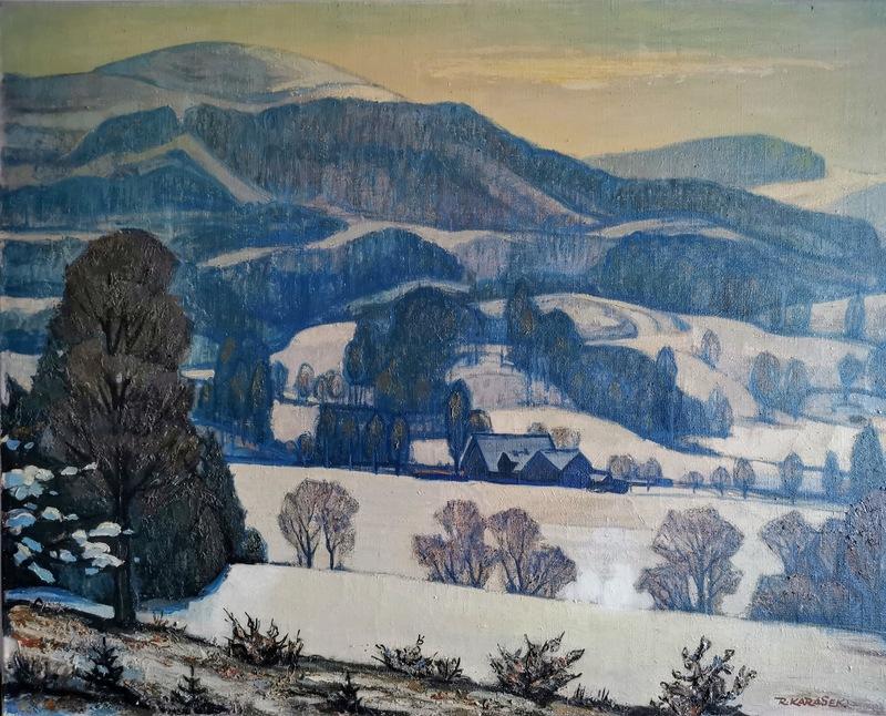 Rudolf KARASEK - Painting - Isergebirgswinterlandschaft