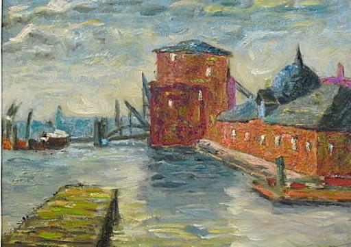 Walter BRÜGGMANN - Painting - Fischmarkt Hamburg.