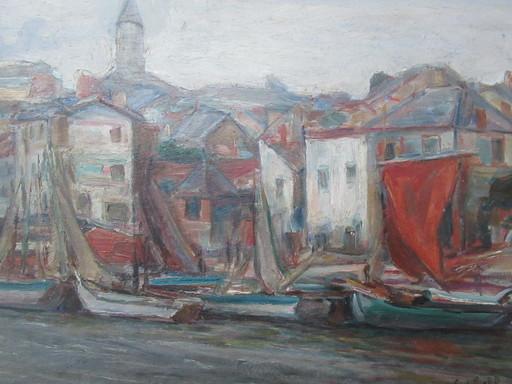 Savery SCHLEIFER - Painting - Bateaux à quai