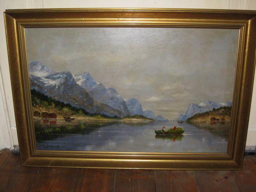 Max Otto BEYER - Pintura - Boote auf einem Gebirgssee