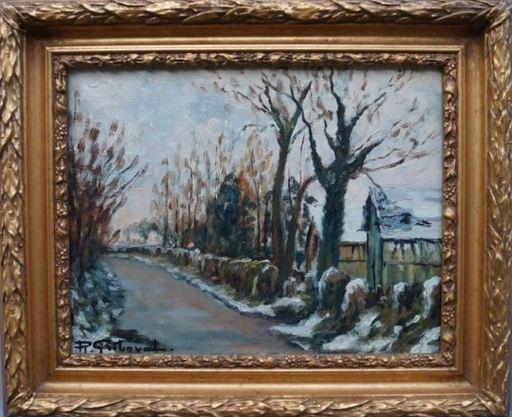 Roger GRIBOVAL - Painting - Neige à la forêt verte
