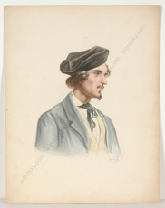 "Friedrich WOLF - Miniature - ""Portrait of a young man"", watercolor, 1850"