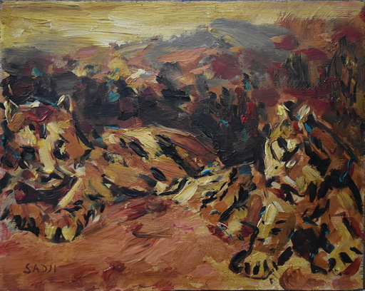 SHA Qi - Painting - Two tigers in a Chinese landscape