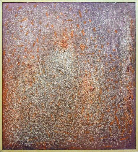 Mario DELUIGI - Gemälde - Grattage viola-arancio