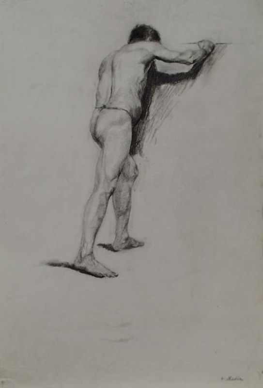 "Karl MEDIZ - Disegno Acquarello - ""Male Nude"" by Karl Mediz,  late 19th Century"