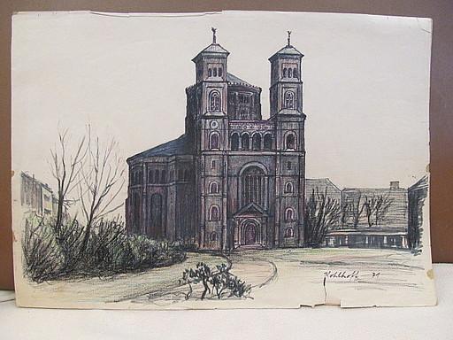 Walter KOHLHOFF - Disegno Acquarello - St. Thomas-Kirche am Mariannenplatz