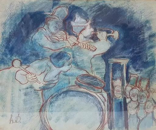 奥诺雷•杜米埃 - 水彩作品 - Untitled (Musicians)