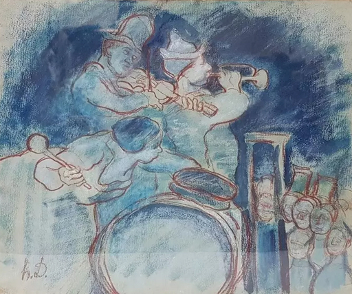 Honoré DAUMIER - Drawing-Watercolor - Untitled (Musicians)