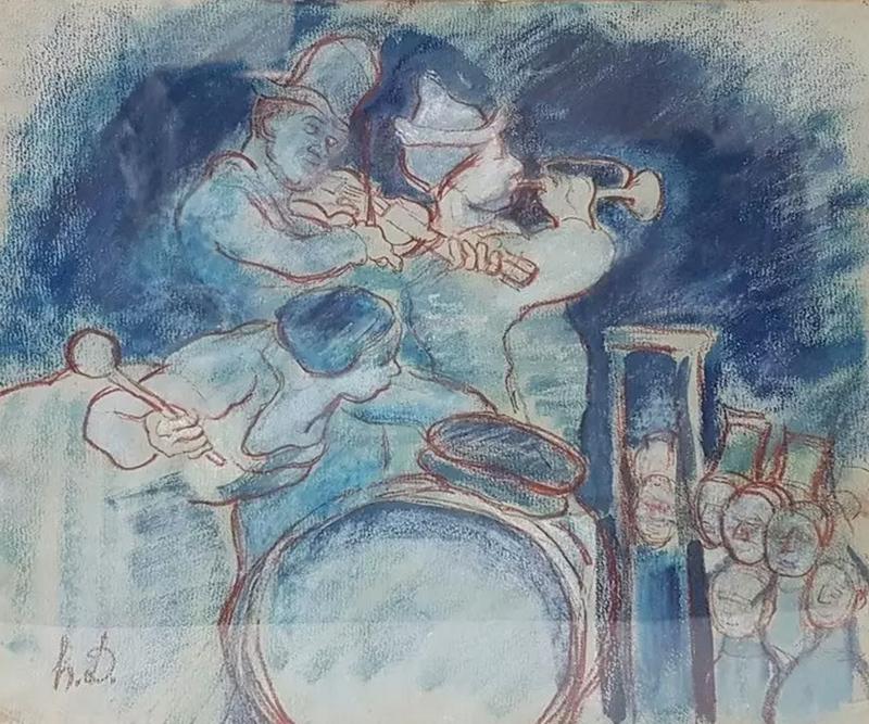 Honoré DAUMIER - Dessin-Aquarelle - Untitled (Musicians)
