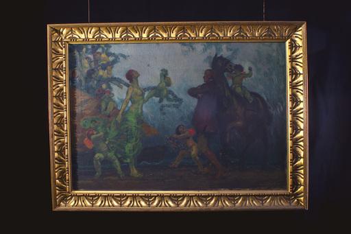 Edmund FÜRST - Pintura - Begegnung mit erotischem Akt und Puttenreigen