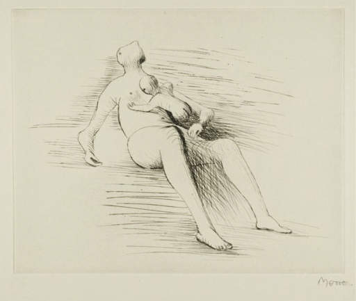 Henry MOORE - Druckgrafik-Multiple - Recling Mother And Child II
