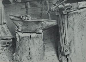 Claude YVEL - Zeichnung Aquarell - Schmiede
