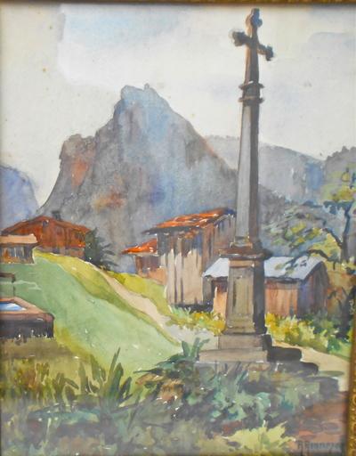R. RENNESON - Drawing-Watercolor - Croix de village et chalets en montagne.