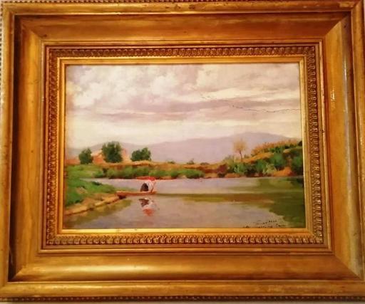 Géza FARAGO - Peinture - Girl in Small Boat River